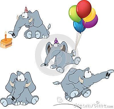 Set of elephants cartoon