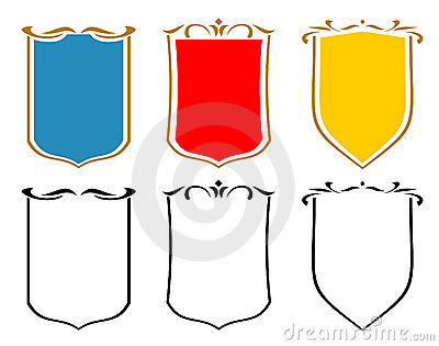 Set of emblems, crests and shields. JPG, EPS