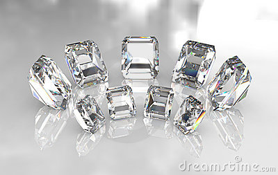 Set of emerald cut white diamonds