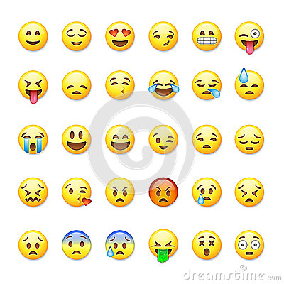Set of emoticons, emoji on Vector Illustration