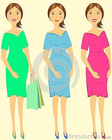 Set emotional pregnant woman