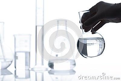 Set of empty laboratory flasks