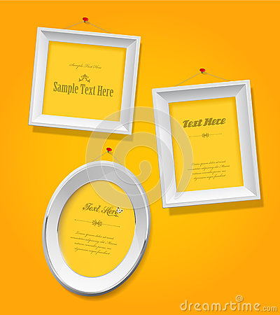 Set of empty picture frames