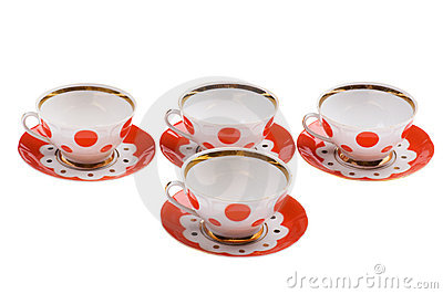 Set of empty teacup on white Stock Photo