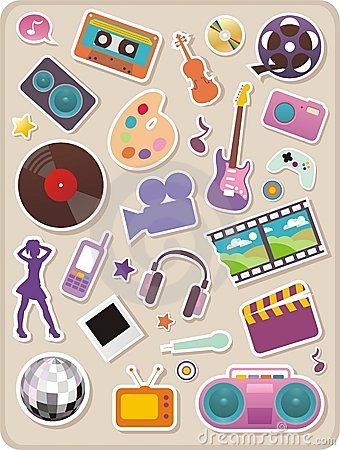 Set of entertainment stickers