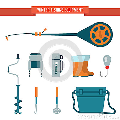 Free Set Equipment Flat Style For Winter Fishing On Ice Royalty Free Stock Photography - 64003927