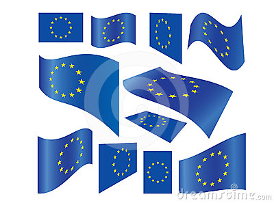 Set of European Union flags