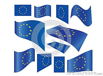 Set of European Union flags