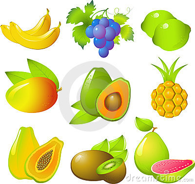 Set of exotic fruits
