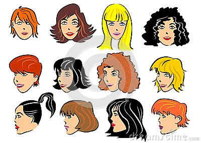 Set of 12 faces of women