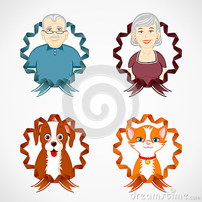 Set of family and pets with colorful ribbon