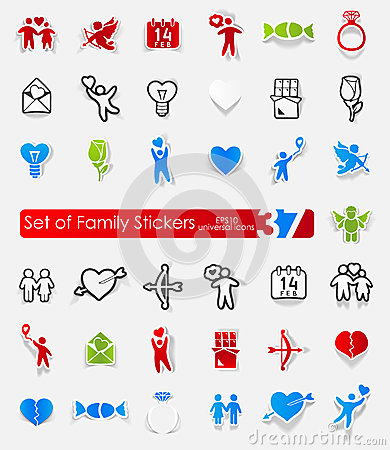 Set Of Family Stickers Stock Vector - Image: 57144506