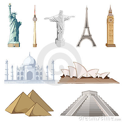 Set of Famous Monument around the World Editorial Photo