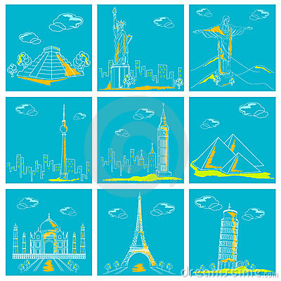 Set of Famous Monument around the World