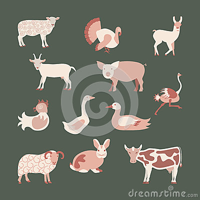 Free Set Farm Animals Royalty Free Stock Photography - 72412807