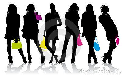 Set of Fashion  of the girls with colored handbags