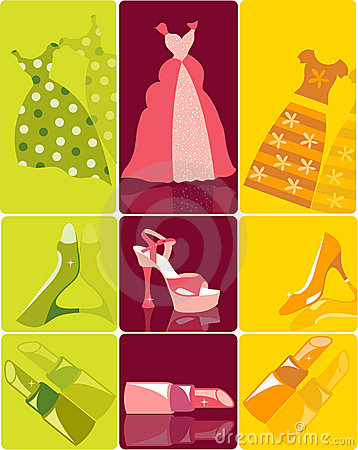 Set of fashion items