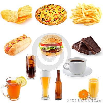Set of fast food