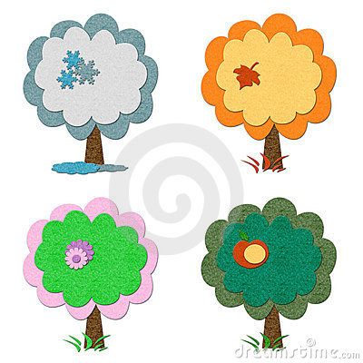 Set of felt seasonal trees
