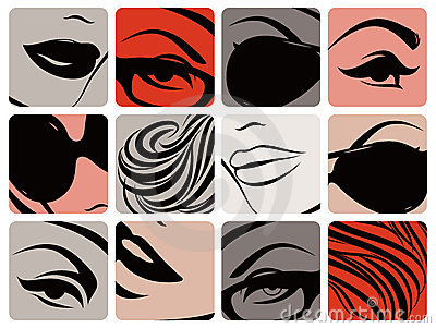 Set of female face parts. Vector illustration.