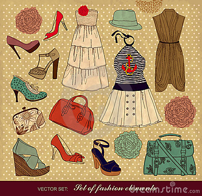 Set of female fashion accessories
