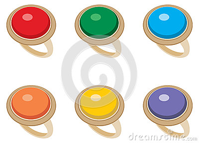 Set of female jeweler rings