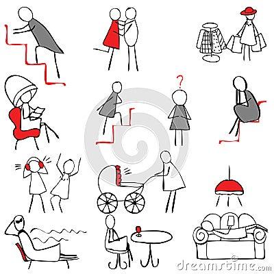 Set of female symbols