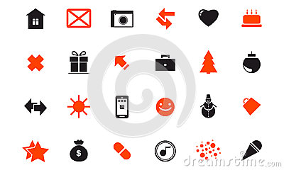 Set of festive Christmas icons web holidays