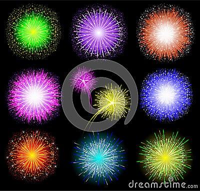 Set of festive colored fireworks on black backgrou