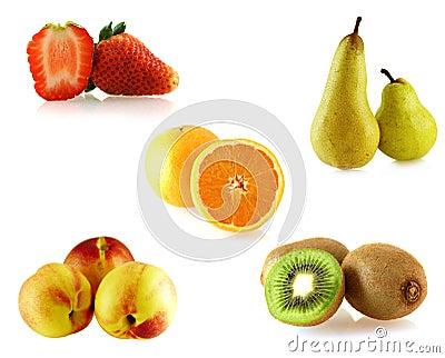 Set of a few isolated on white fruites