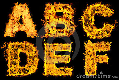 Set of fiery alphabet