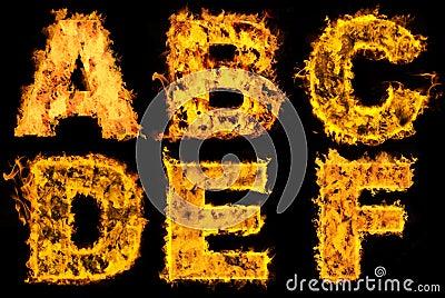 Set of fiery alphabet