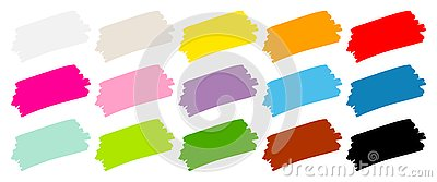 Set Of Fifteen Brushstrokes Color Stock Photo