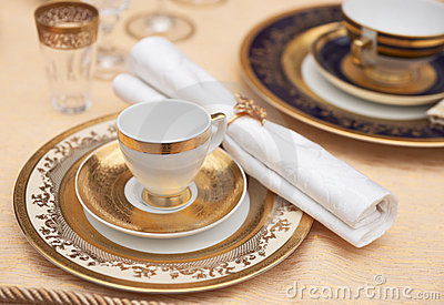 Set of fine bone porcelain dishware