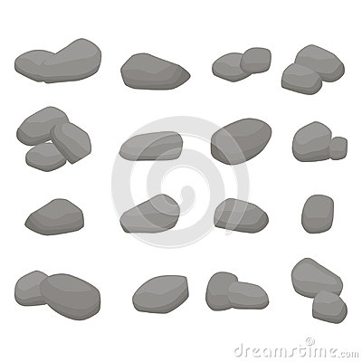Free Set Firewood. Big Collection Of Grey Stones Stock Images - 98996374