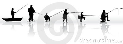 Set of Fisherman  silhouettes