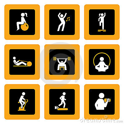 Set of Fitness Pictograms in Squares