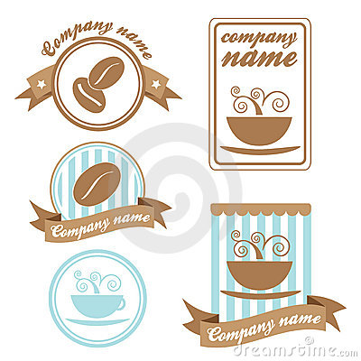 Set of five coffee logos (vector)