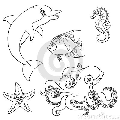 Free Set Five Cute Marine Animal Black Contour Royalty Free Stock Photography - 85751397