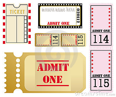 Set of five different movie tickets