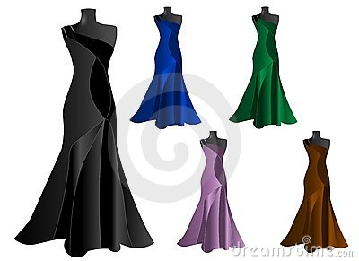 Set of five elegant dresses, cdr vector