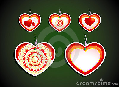 Set of five labels on dark background. Hearts