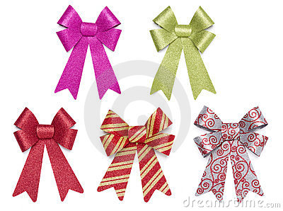 Set of Five Multicolored Glitter Bows and Ribbons