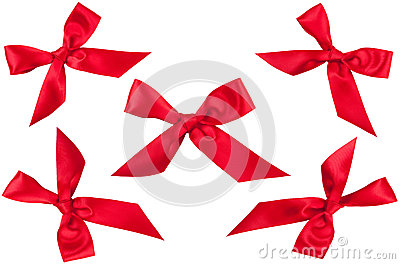 Set of five red ribbon bows in different position