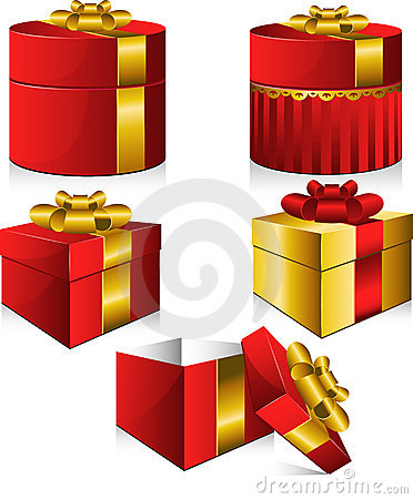 Set of five vector gift boxes