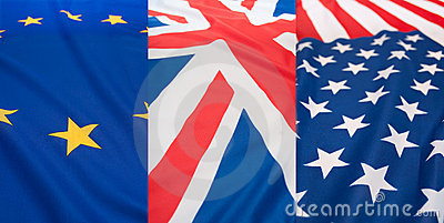 Set of Flags - USA, UK and EU