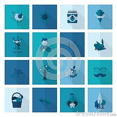 Set of Flat Autumn Icons Vector Illustration