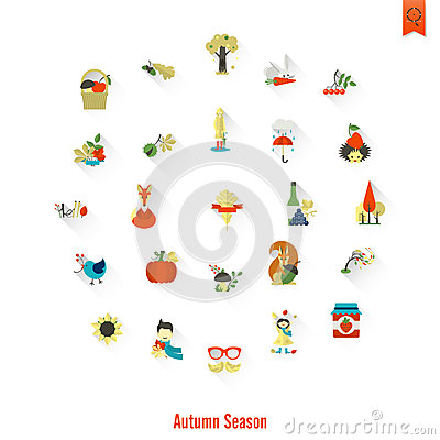 Set of Flat Autumn Icons Vector Illustration