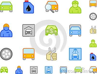 Set of flat car icons
