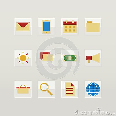 Set of flat color icons
